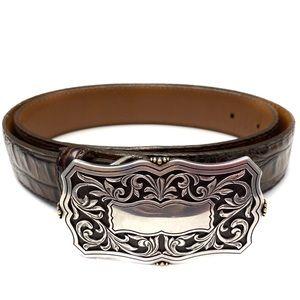 Tony Lama Croc Print Leather Belt